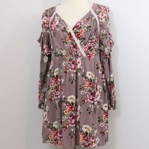 Entro Mauve Gauzy Floral Ruffle Crochet Boho Dress